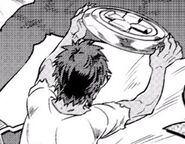 Gobukichi inspecting his new round shield