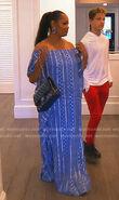 Garcelle-blue-metallic-print-maxi-dress