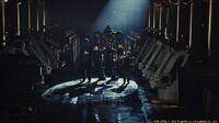 Charlie (hugh jackman) and his son, max (dakota goyo) enter former wrb robot noisy boy in an underground match