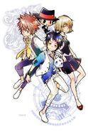 Tsuna, Reborn, Chuuta, and Misuzu