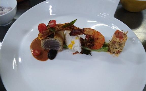 Tuna Ambulthiyal Rotti with Corn Rice, Karan Koku Curry and Jackfruit Sambol