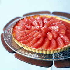 Bittersweet Chocolate Basil Tart with Honey Grapefruit Sauce