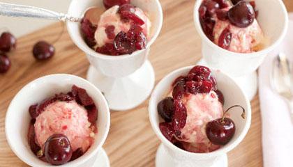 Cherries Jubilee with Vanilla Frozen Yogurt