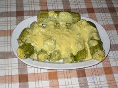 Stuffed Courgettes with egg and lemon sauce (Kolokithakia yemista avgholemono)