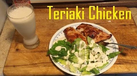 Healthy_Lunch!_Salad_Teriyaki_Chicken_and_Almond_Milk