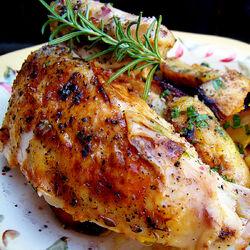Roast Chicken with Herb Lemon Rub and Yogurt