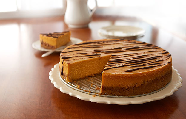 Butterscotch Cheesecake with Chocolate Drizzle