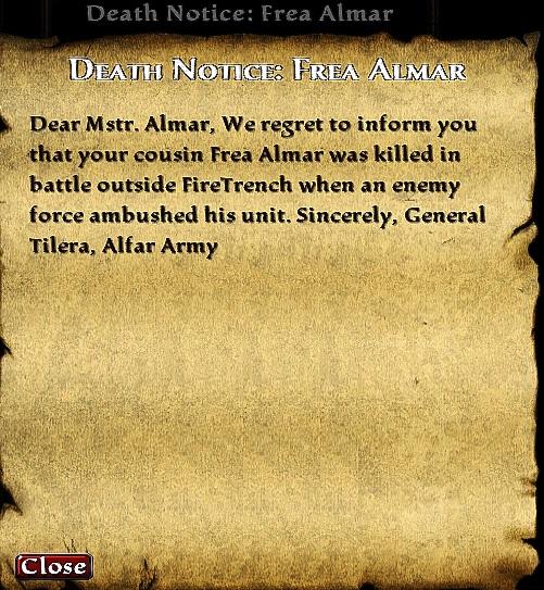 Death Notice: Frea Almar