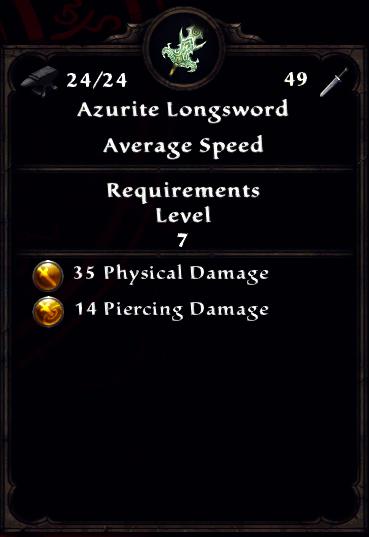 Azurite Longsword