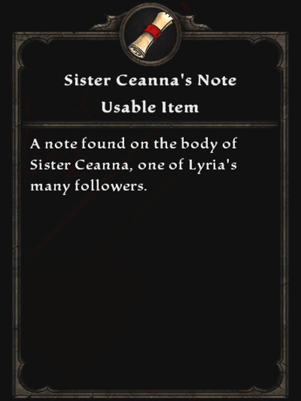 Sister Ceanna's Note
