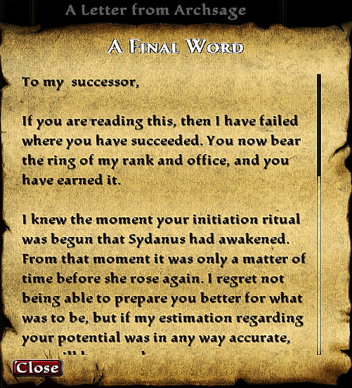 A Letter from Archsage Caledus
