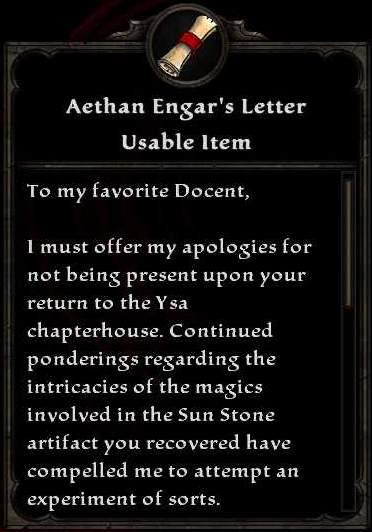Aethan Engar's Letter