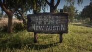Willkommensschild von New Austin