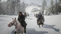 Van der Linde gang riding to Ewing Basin