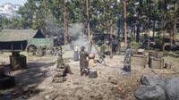 O'Driscolls campsite at Six Point Cabin in free roam