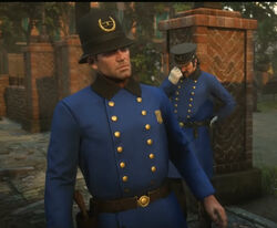 Arthur & Dutch disguised as Saint Denis Policemen.jpg