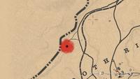 Cueva Seca hideout seen on the Red Dead Online map