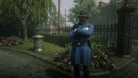Saint Denis Policeman on guard duty