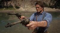Arthur dual-wielding John's Cattleman Revolvers