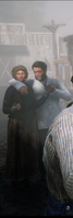 Quentin Fern in the company of a woman during a cutscene