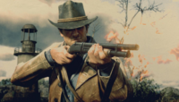 Arthur Morgan holding PUMP-ACTION SHOTGUN RDR2