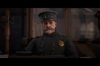 Oswald Dunbar during a bounty hunting mission cutscene
