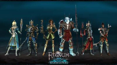 All 6 sub-classes with Warmaster status. From left to Right: Conjurer, Knight, Hunter, Barbarian, Warlock and Marksman