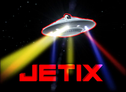 "Jetix's Mascot ""J"" in the form of a UFO"