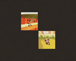 Casillas (Diagonal 2 Grid) Wile E. Coyote swings a bulldozer, but the action becomes Bubbles from the Powerpuff Girls on a swing in the bottom right square.