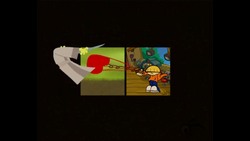 Casillas (Horizontal 2 Grid) Numbuh 4 from Codename: Kids Next Door hits Samurai Jack with a spring-loaded Boxing Glove.