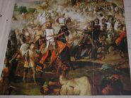Escenas de la Reconquista por las Ordenes Militares. Spanish Reconquest . Monasterio de Ucles.Cuenca .España.