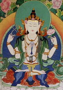 Four-armed Tibetan Chenrezig form of Avalokiteśvara