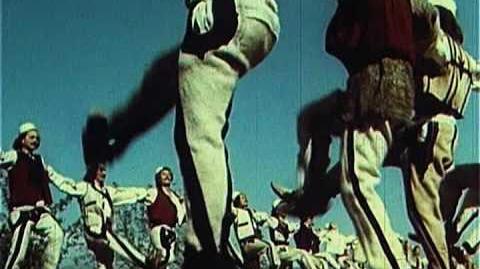 Skenderbeu dhe Trimat Shqiptar duke vallezuar