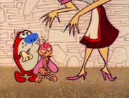 Ren and stimpy owner towering over them
