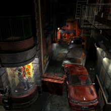 Resident Evil 3 background - Uptown - street along apartment building e - R10D0B.png