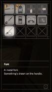 RESIDENT EVIL 7 biohazard Fork inventory