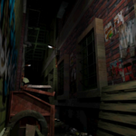 Resident Evil 3 background - Uptown - street along apartment building m - R10D09.png