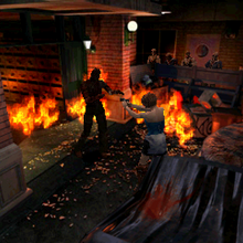 Resident Evil 3 Nemesis screenshot - Uptown - Street along apartment building - Jill Valentine gameplay 01.png