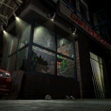 Resident Evil 3 background - Uptown - street along apartment building j - R10D06.png