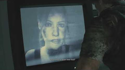 Leon talks to Claire on the monitor