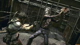 Chainsaw Majini attacking Chris Redfield