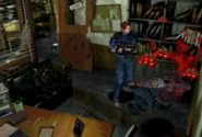 Marvin zombie killed by Leon RE2 1998