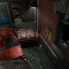 Resident Evil 3 background - Uptown - street along apartment building d - R10D03.png