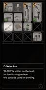 RESIDENT EVIL 7 biohazard D-Series Arm inventory