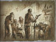 Biohazard 4 Incubate village drawing 10