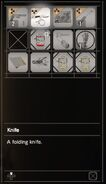 RESIDENT EVIL 7 biohazard Knife inventory