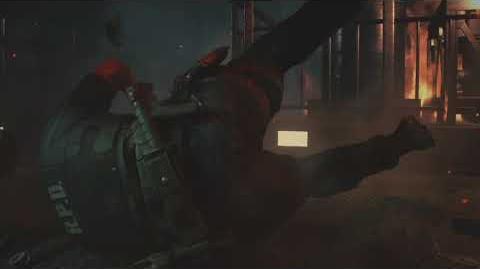Leon falls through the floor