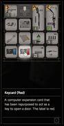 RESIDENT EVIL 7 biohazard Keycard (Red) inventory