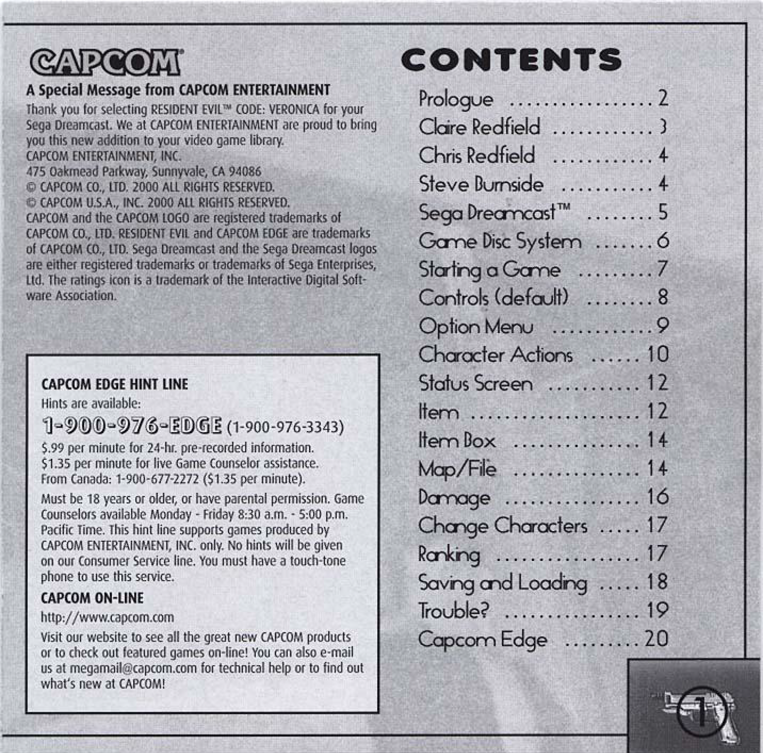 Resident Evil CODE:Veronica Dreamcast manual