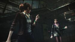 Resident Evil Revelations 2 screenshot - Overseer contacts Claire Redfield and Moira Burton.jpg